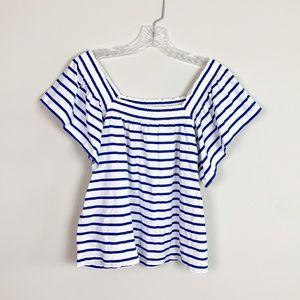 J.Crew | striped off the shoulder blouse blue S